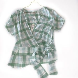 Max Studio Green Plaid Faux Wrap top with tie